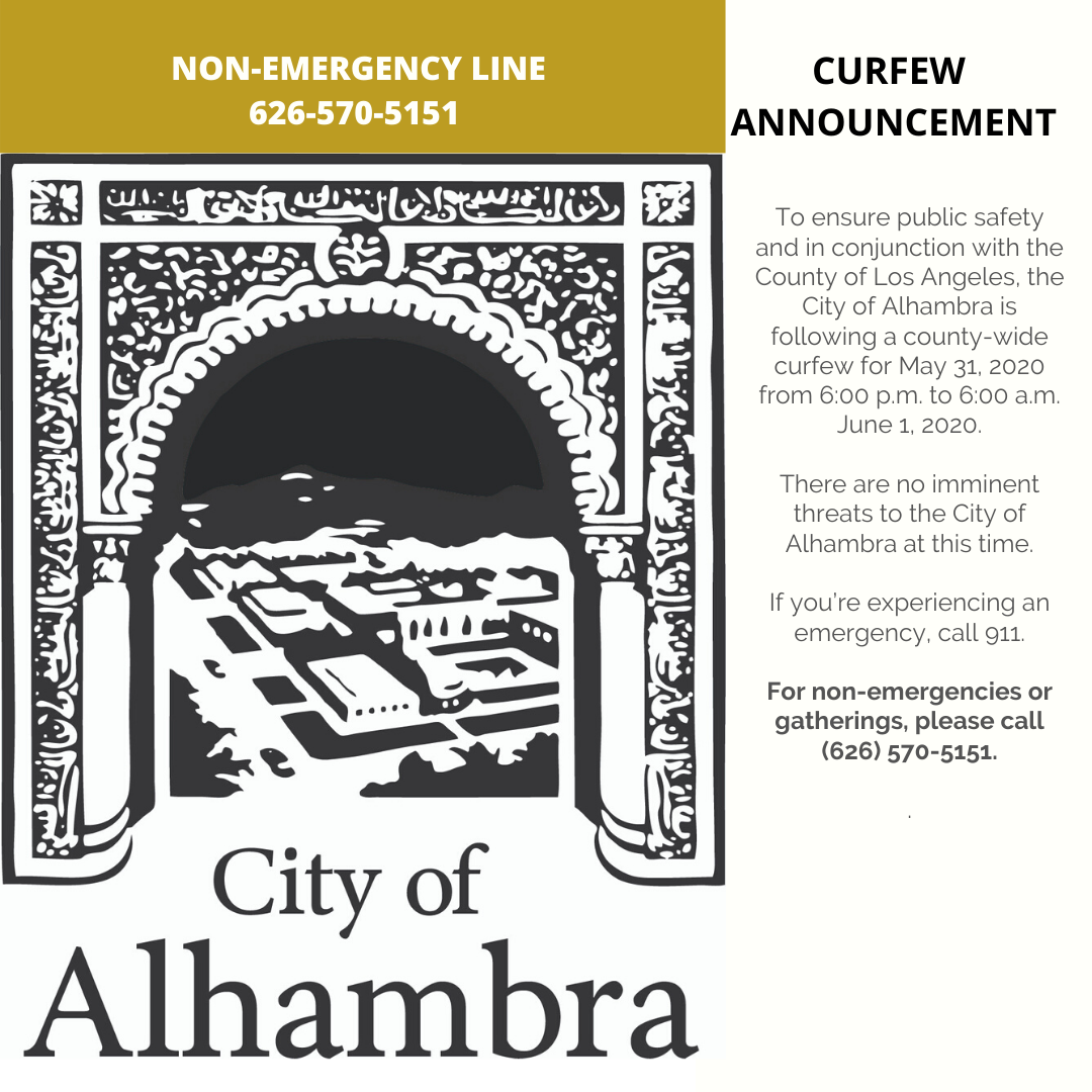 curfew announcement photo and non-emergency line