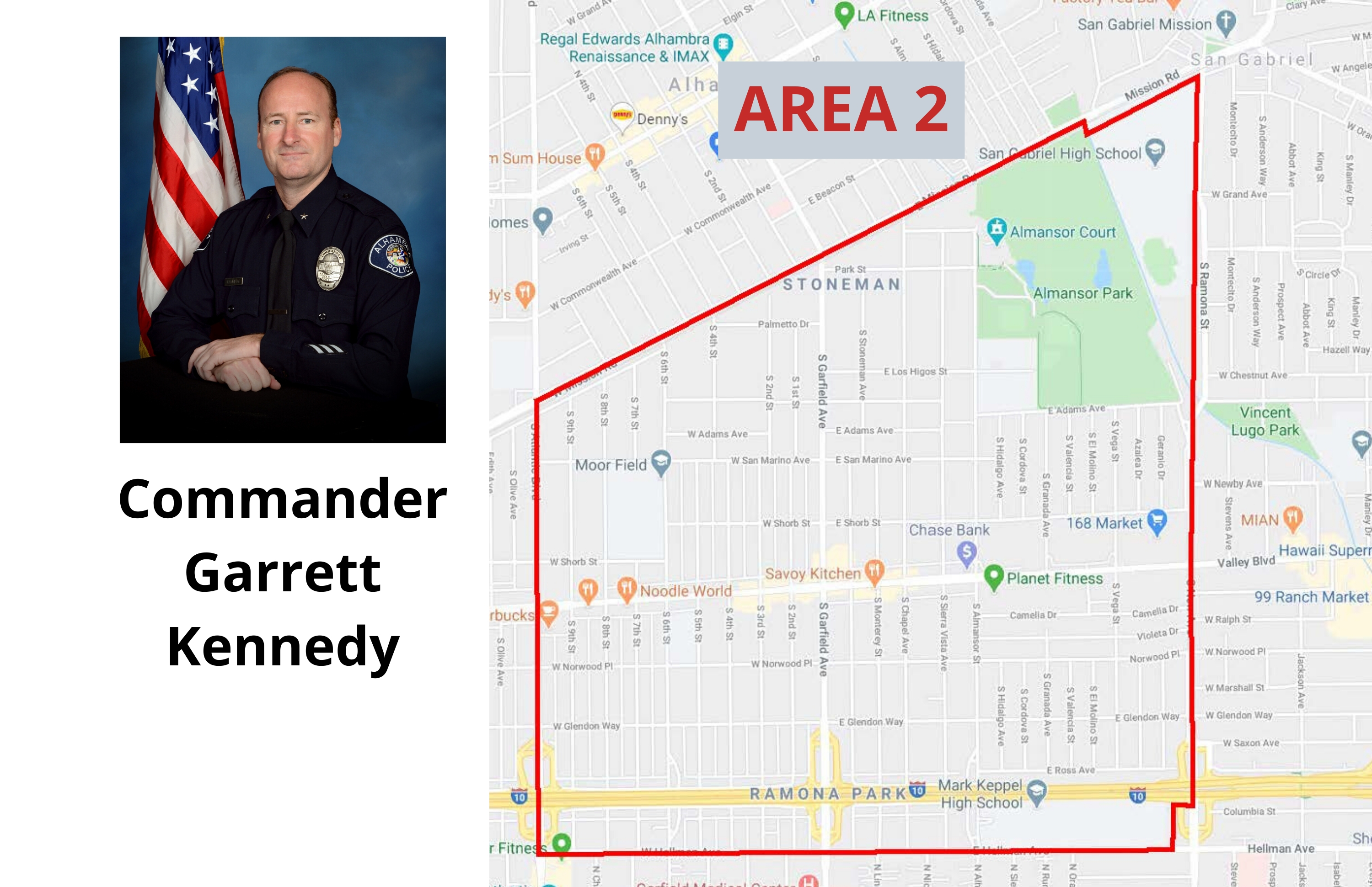 Picture of Commander Garrett Kennedy and map of Area 2