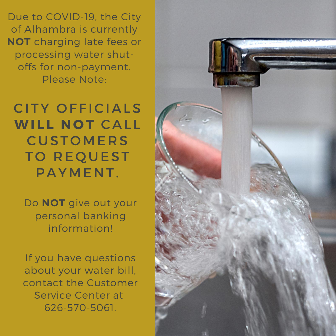 scam alert image saying city officials will not call customers to request payment.