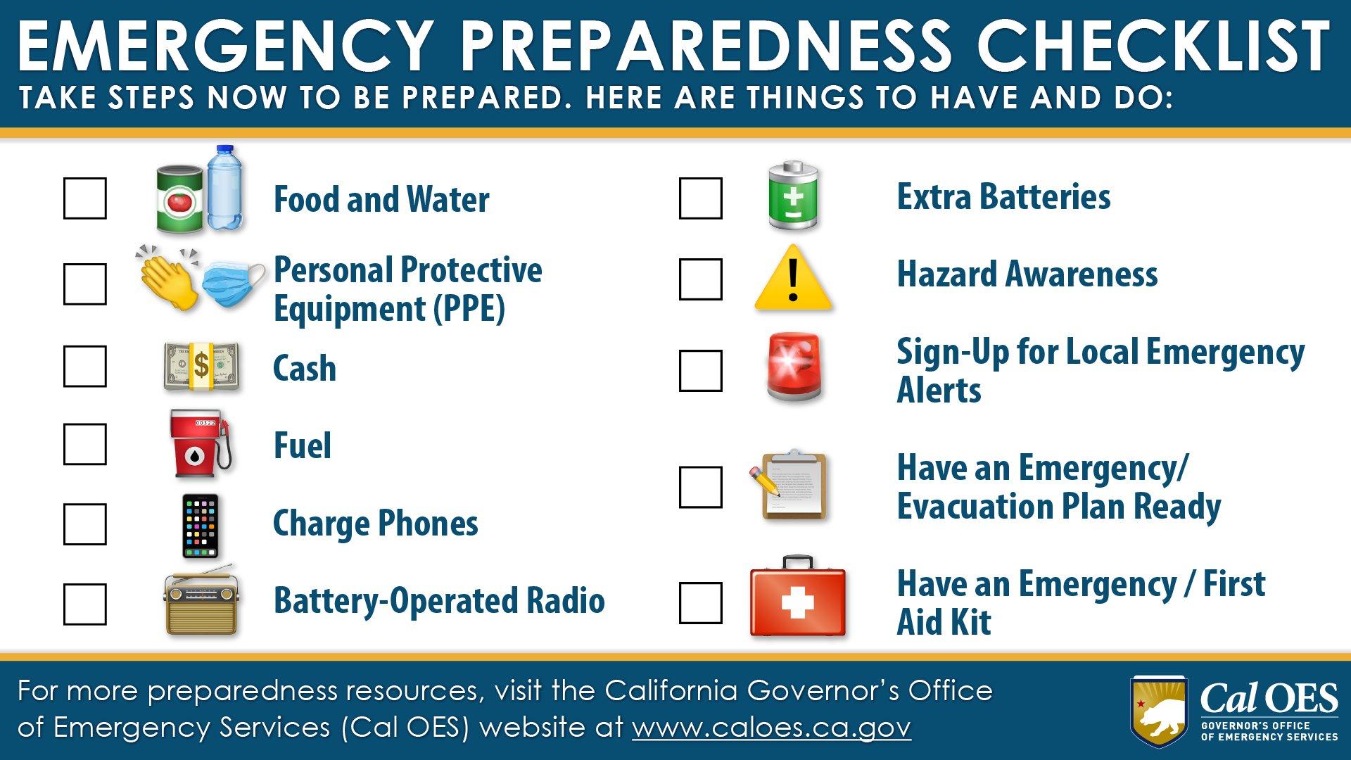 emergency preparedness checklist graphic