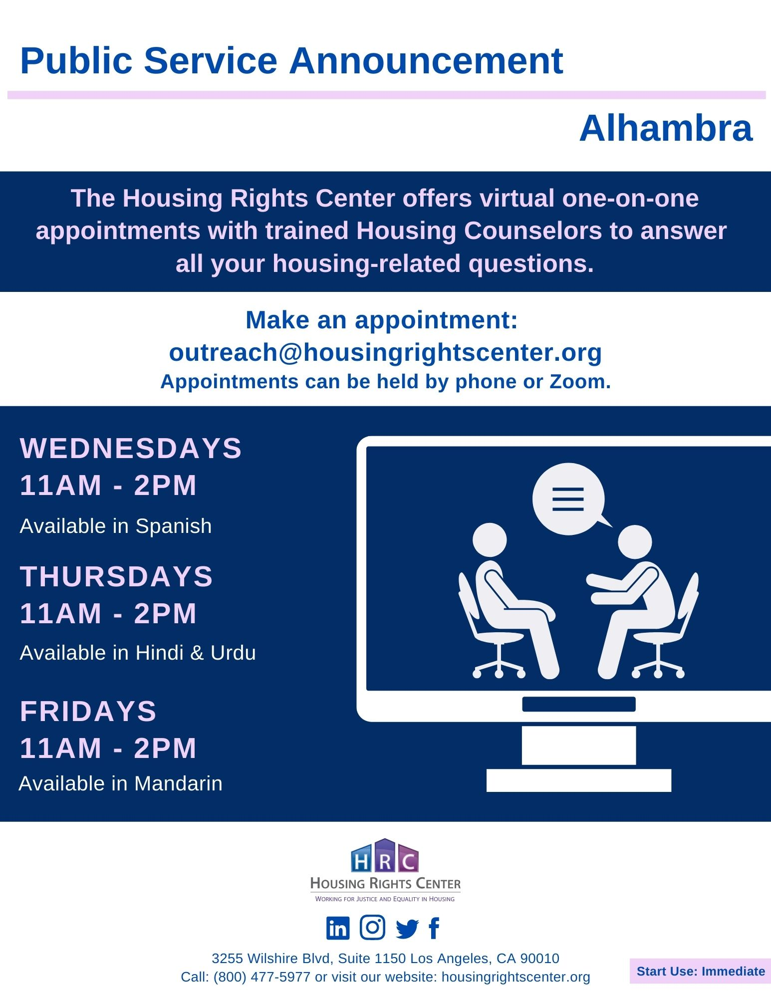PSA on Housing Rights Center appointment opportunities