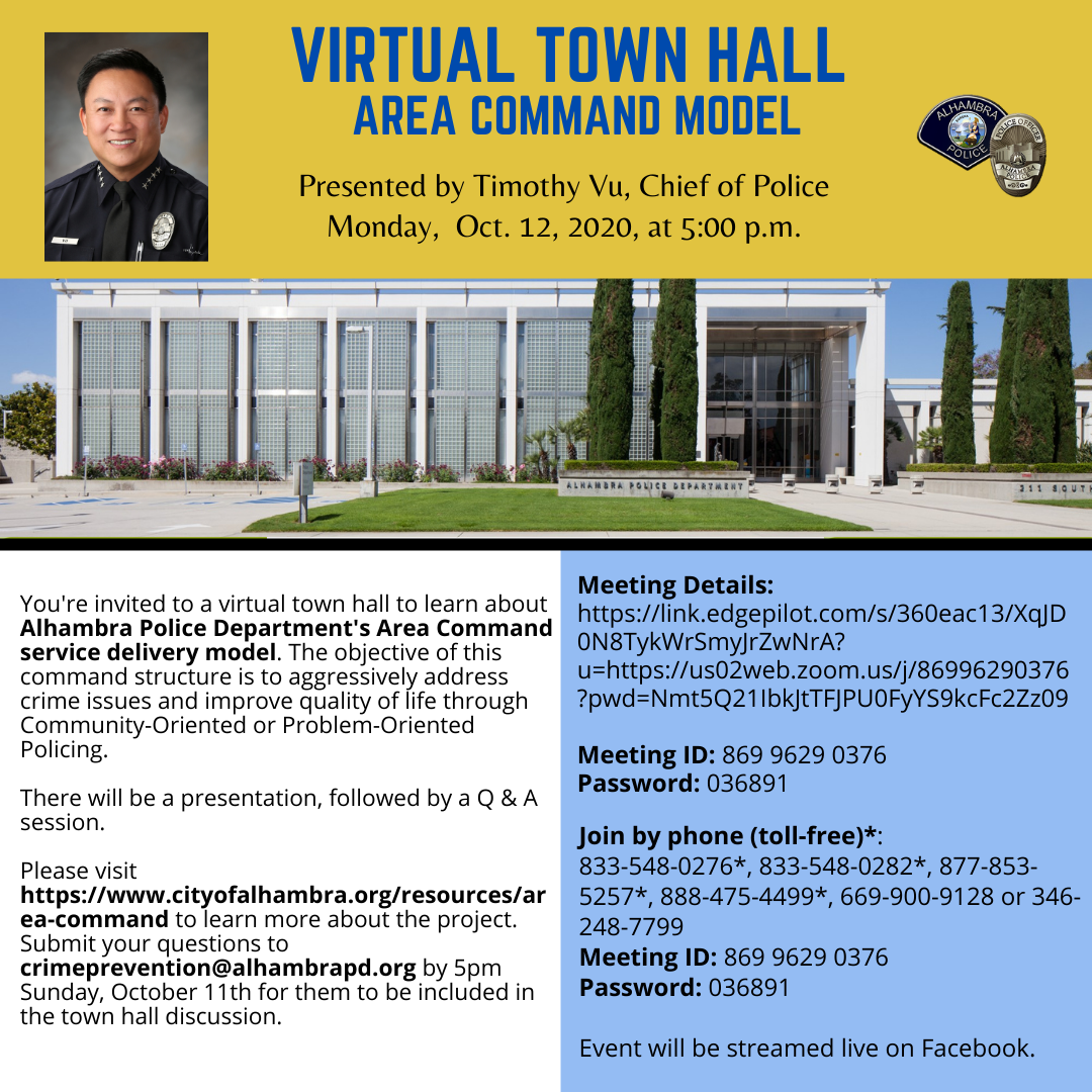 flyer showing virtual town hall information
