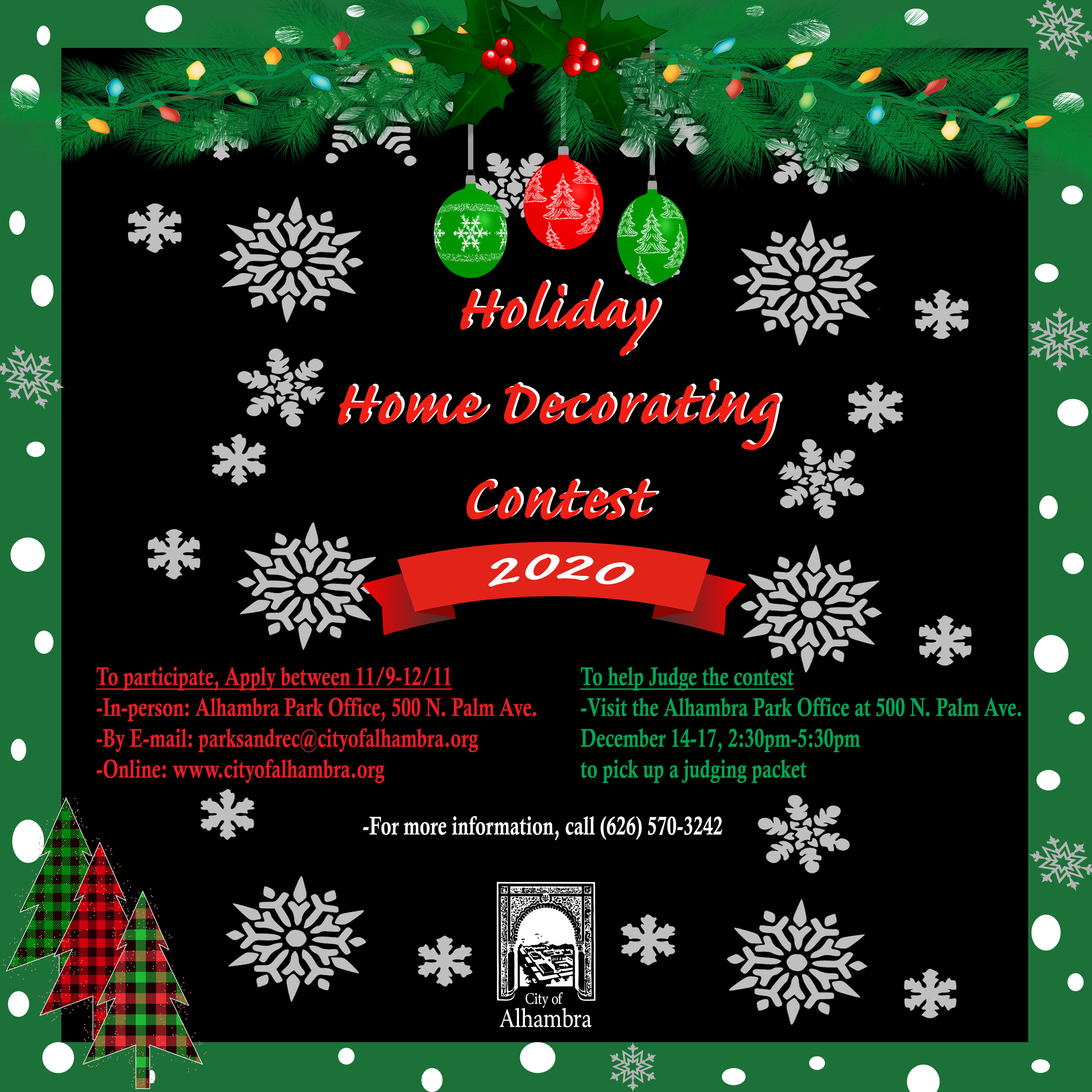 photo showing info on holiday home decorating judging