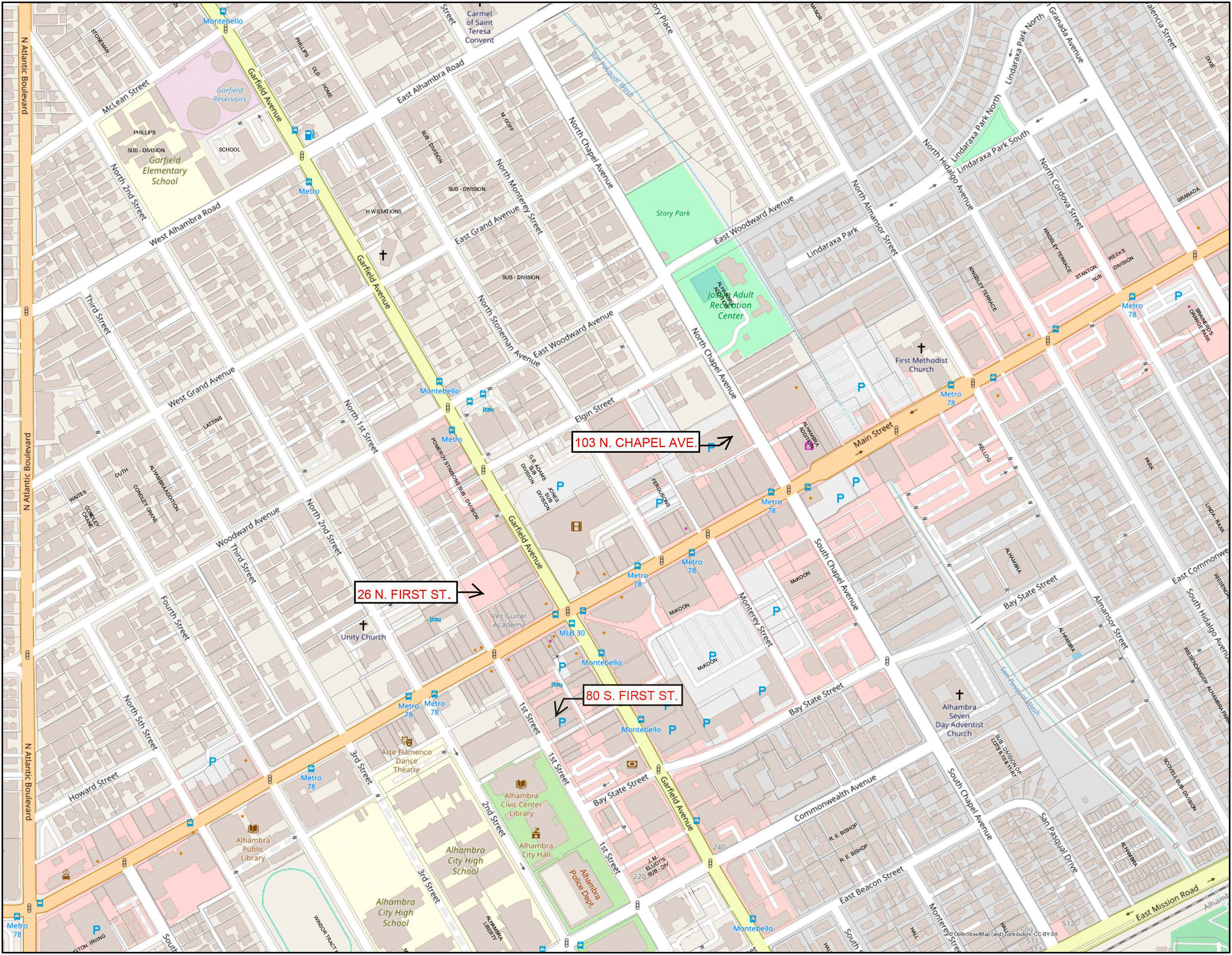 Map of the three EV parking structures