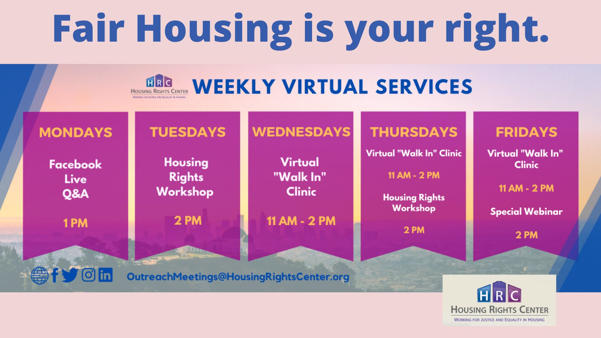 graphic showing weekly virtual services