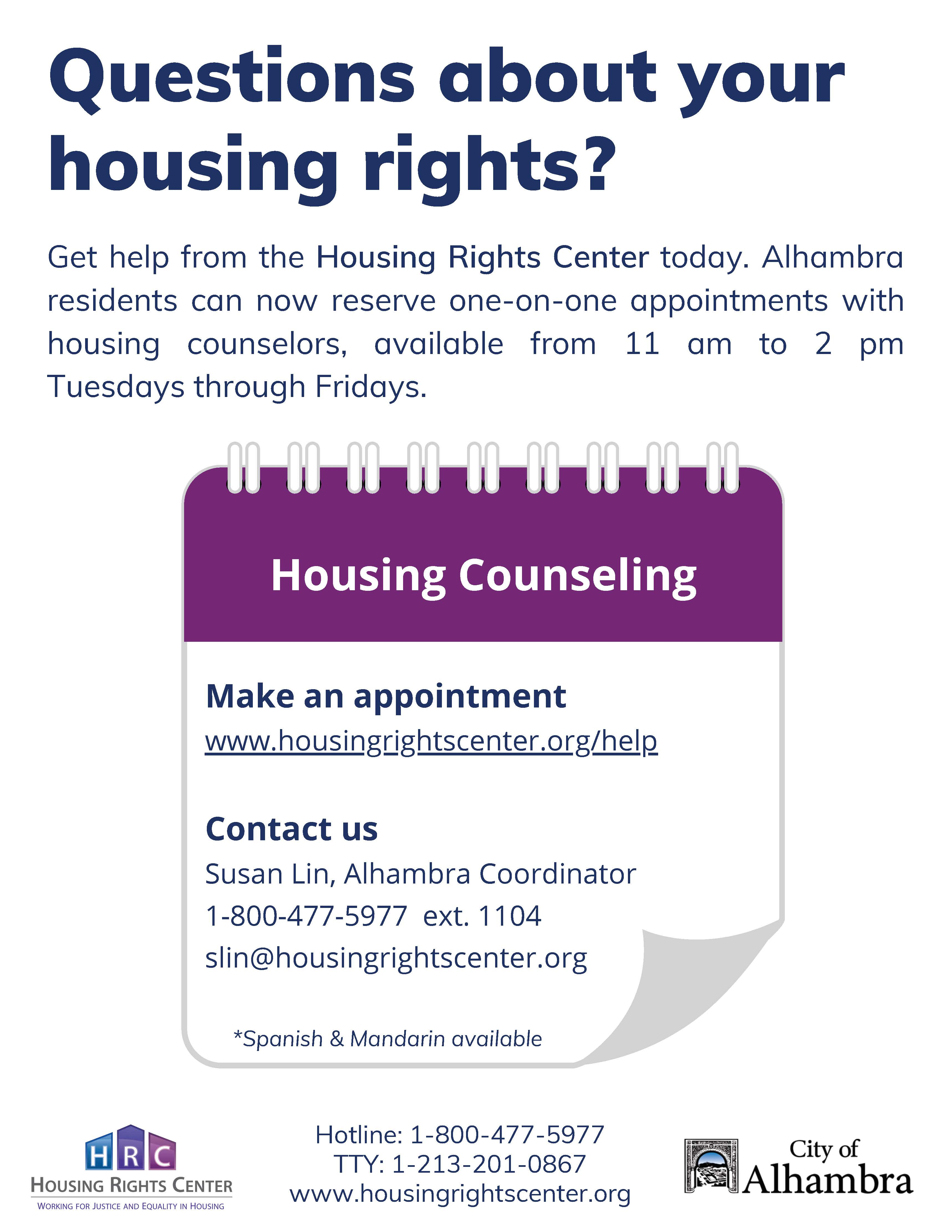Housing rights appointment info in English