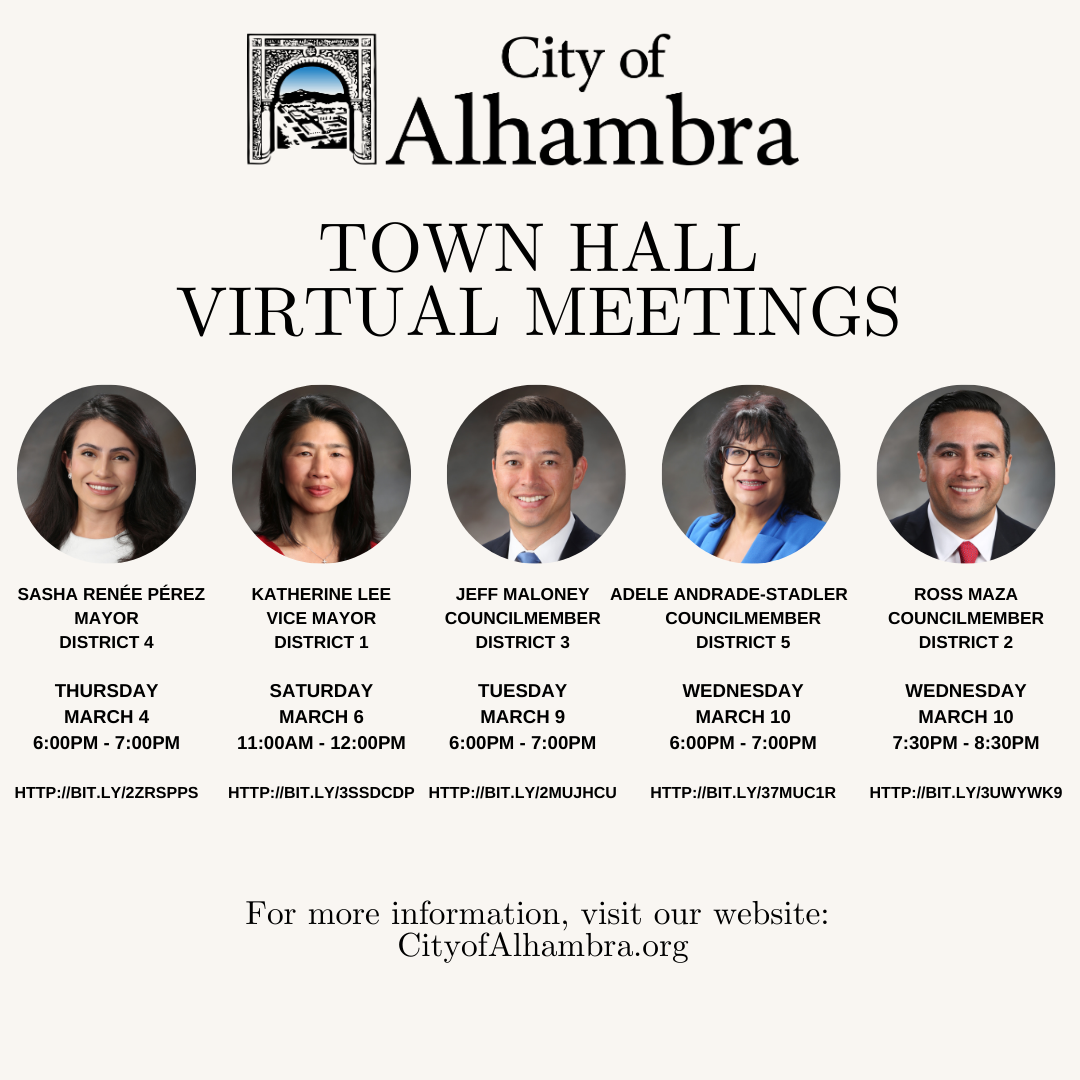 Town Hall schedule for council members