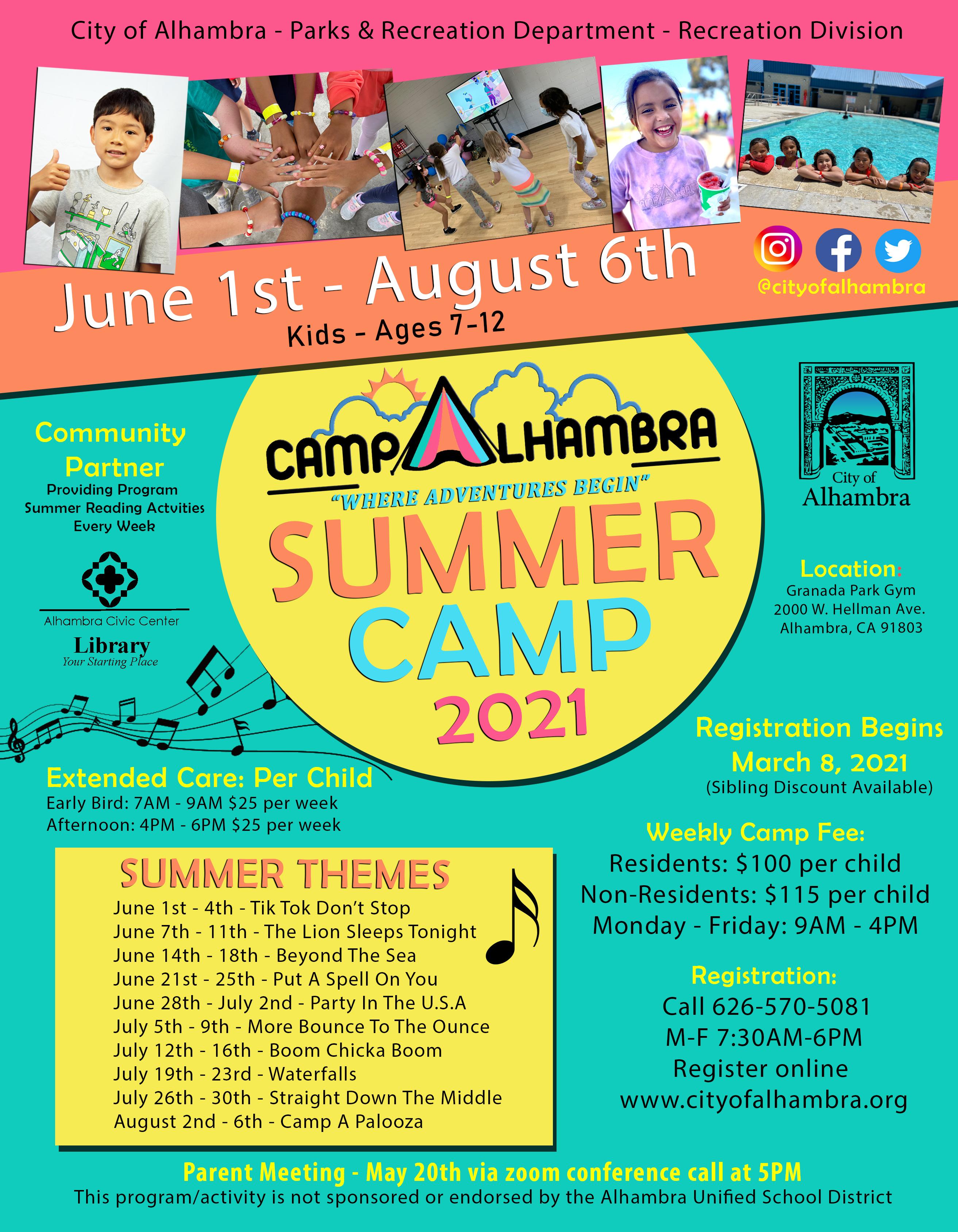 Camp Alhambra 2021 flyer