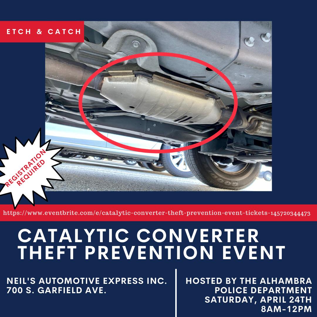 Catalytic Converter Etch & Catch event flyer