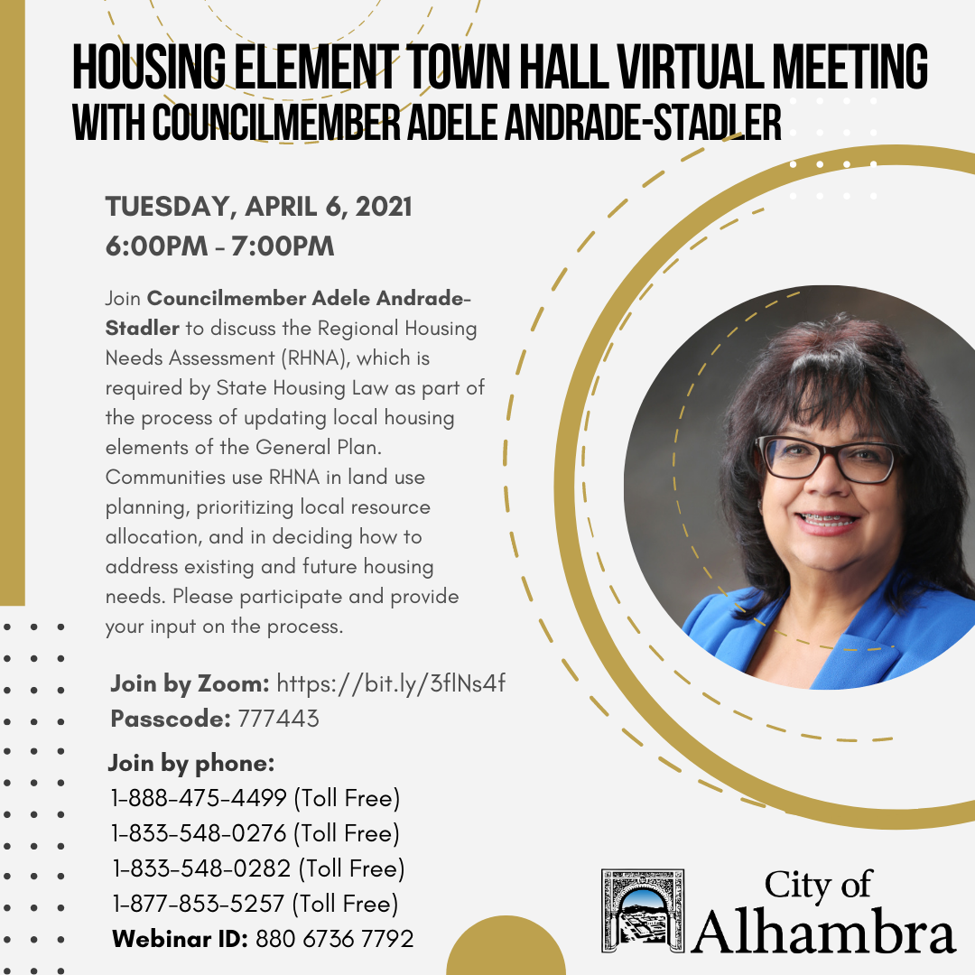 housing element town hall with councilmember andrade-stadler flyer info