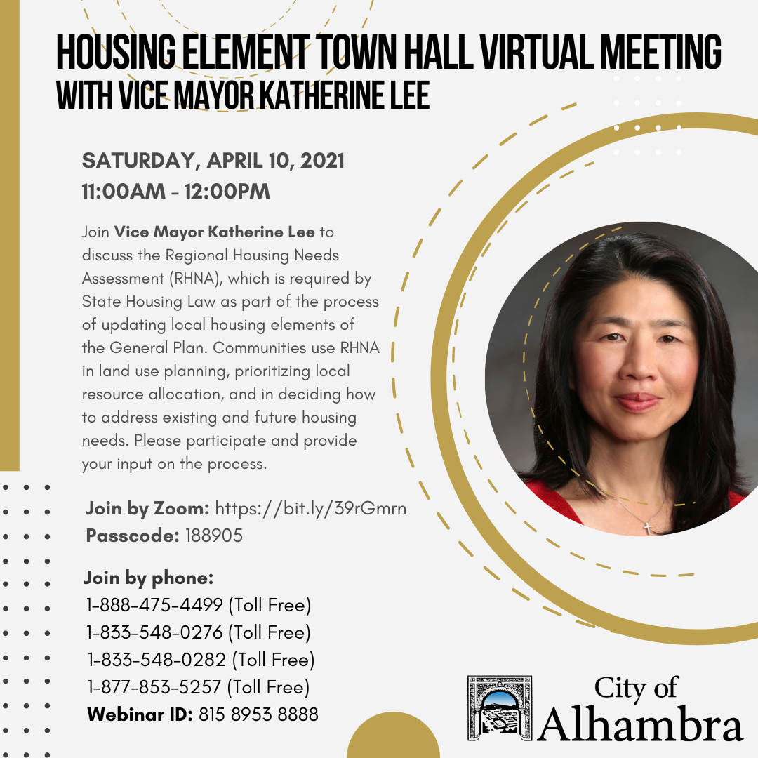housing element town hall with Vice Mayor Lee info
