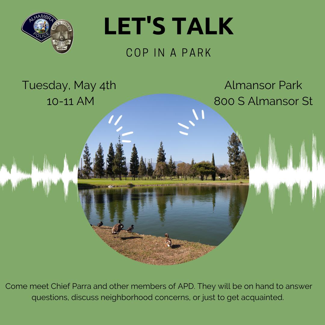 Cop in a Park flyer for Almansor Park