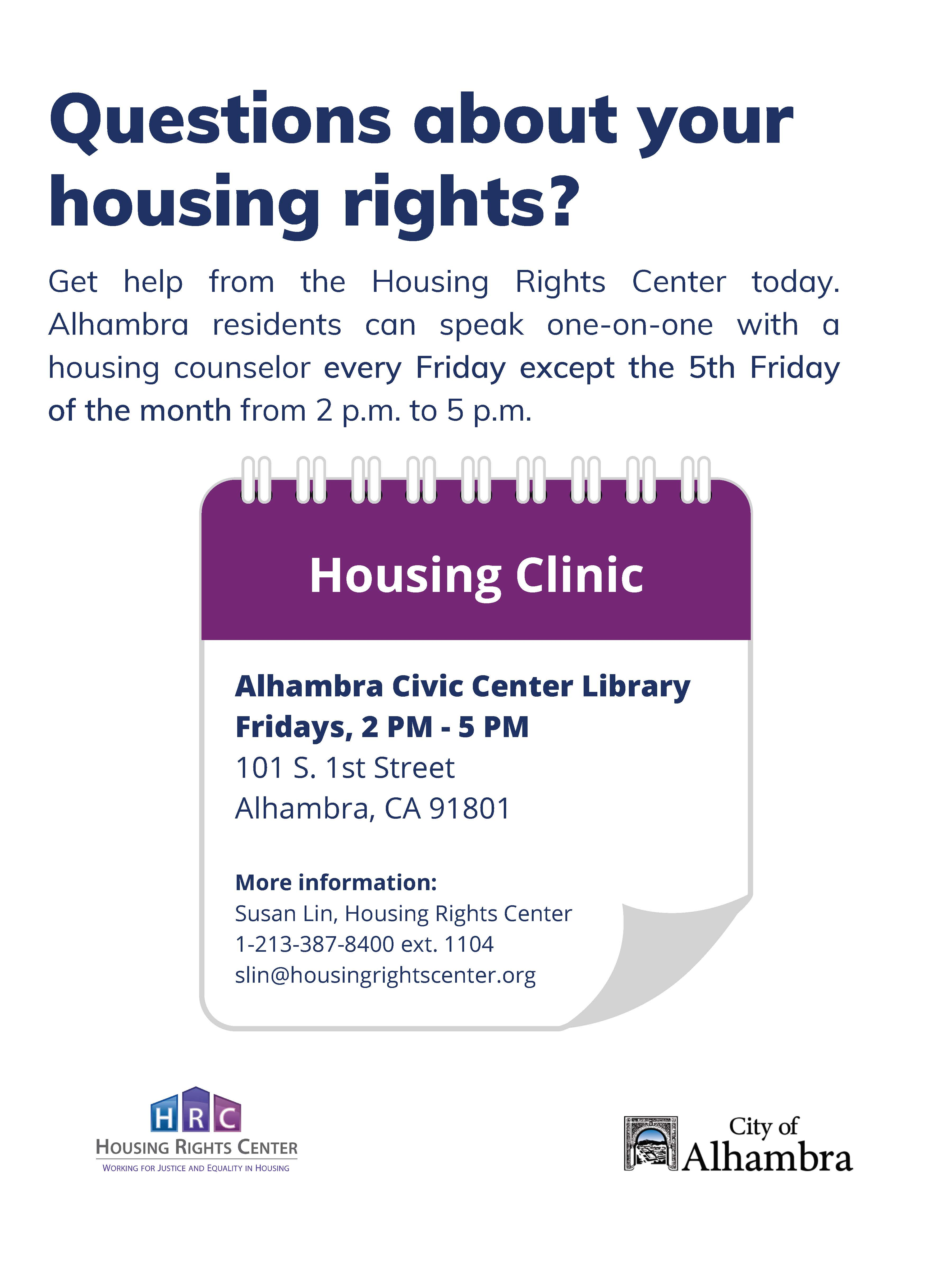 Housing Rights Center Walk-In Clinic Flyer at the Library in English