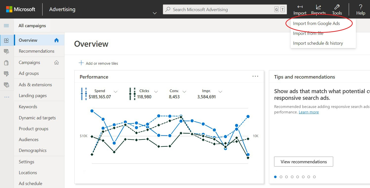 Microsoft Ads Dashboard - Import From Google Ads Button