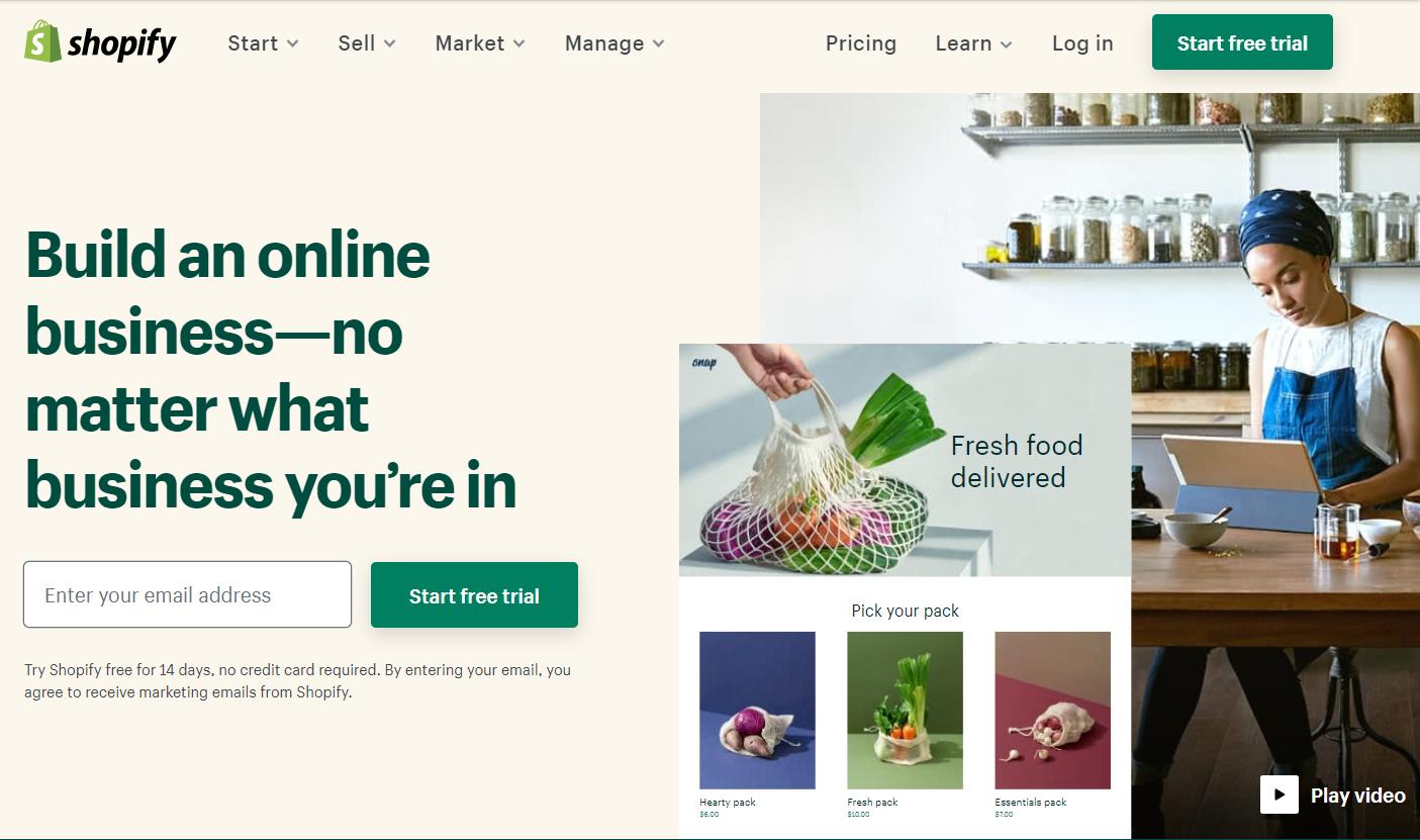 Shopify Homepage circa July 2020
