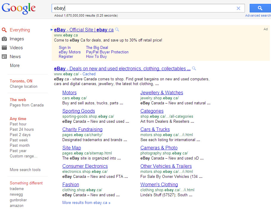 Google's Search Engine Results Page (SERP) in 2011