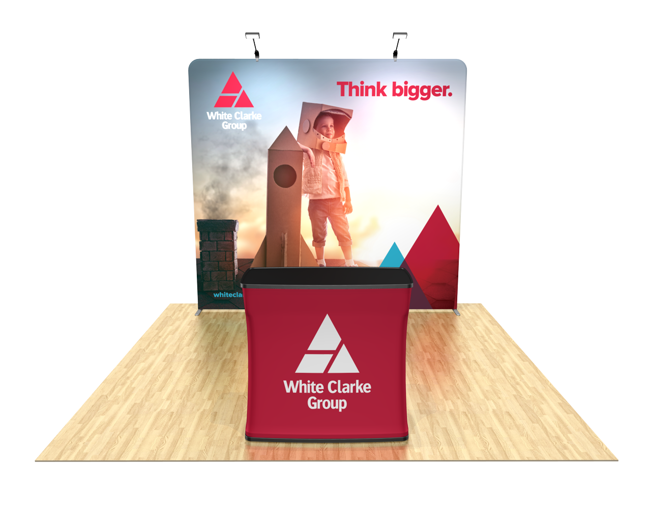 Tension Fabric Trade Show Display with Case-to-Counter with Graphic Wrap