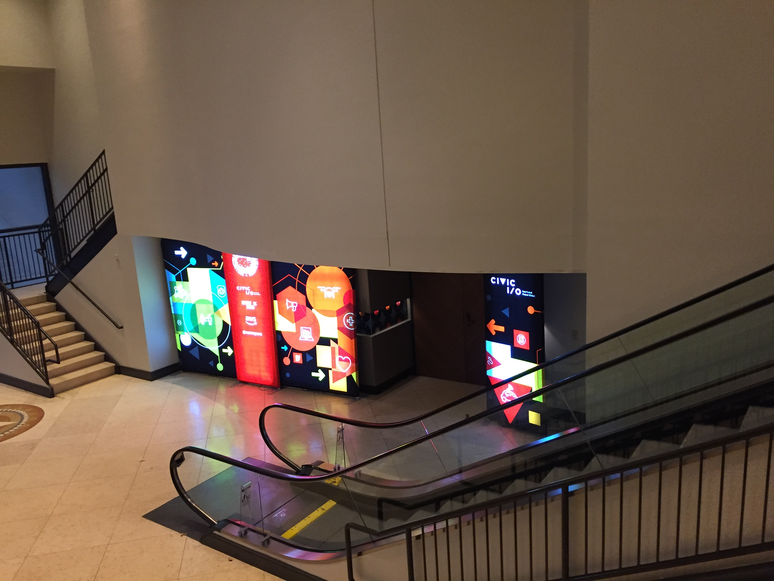 Combination of Backlit Trade Show Display Panels at conference room entryway