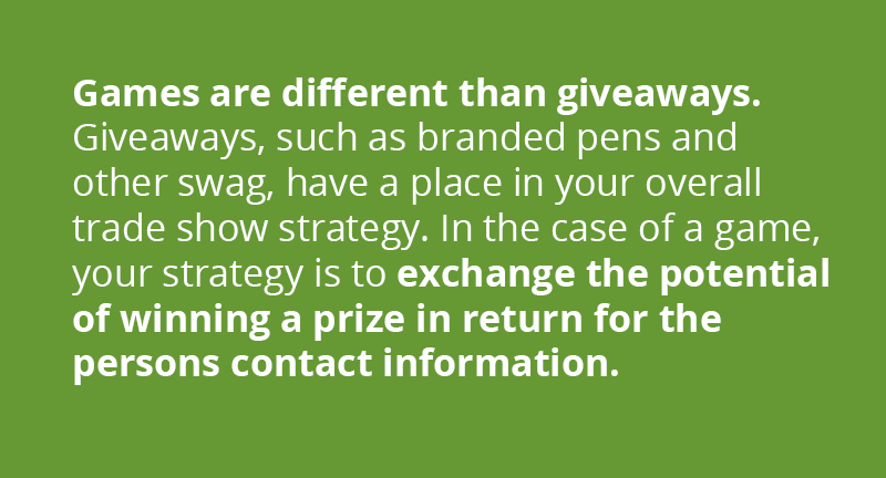 Games are different than giveaways. Giveaways like pens and other swag have a place in your overall trade show strategy, but in the case of a game it's an exchange of the potential of winning a larger prize in return for the person's contact information.