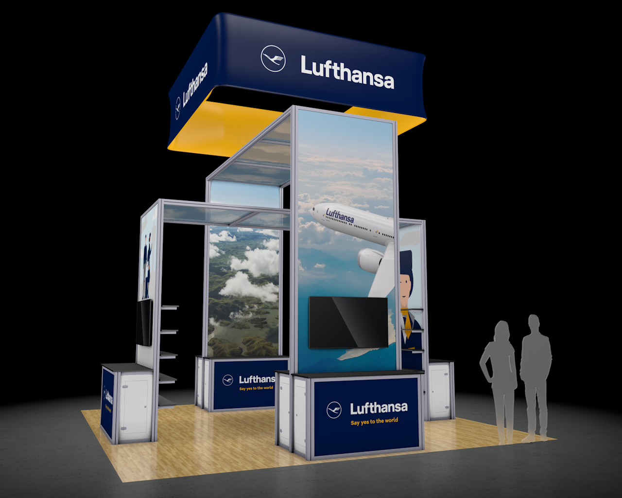 20x20 3D Trade Show Booth Rendering