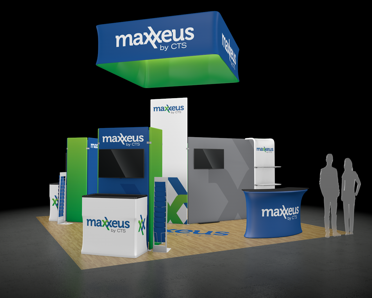 20x20 Trade Show Booth Side View 2 Rendering