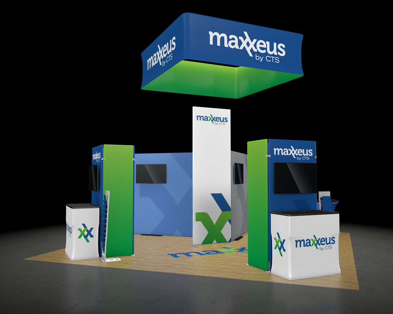 20x20 Trade Show Booth Side View 1 Rendering