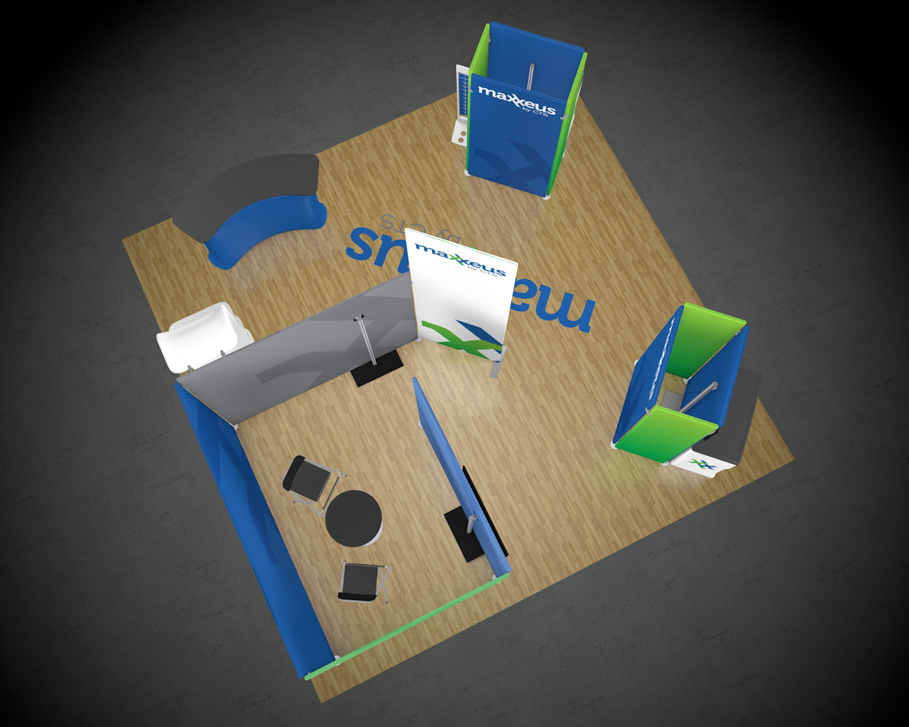 20x20 Trade Show Booth Top View 1 Rendering