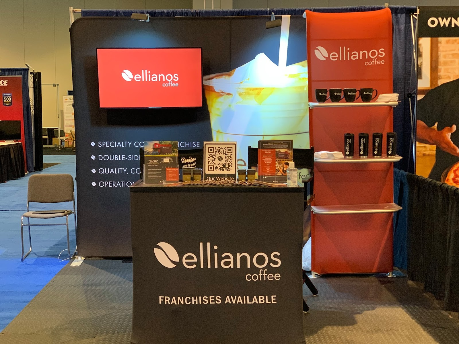 10x10 Trade Show Display with Monitor and Merchandiser