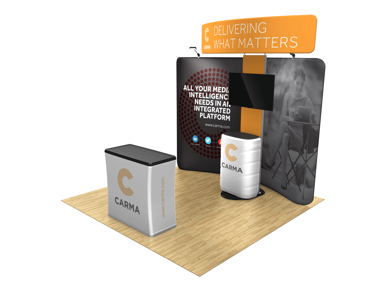 Waveline Curved 10ft Trade Show Display Kit with Standroid