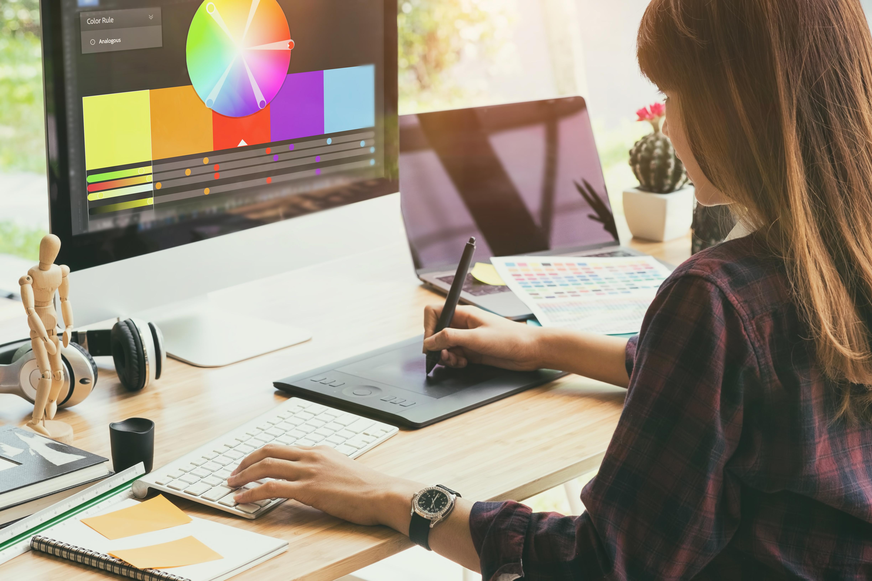 Graphic Designer working on computer