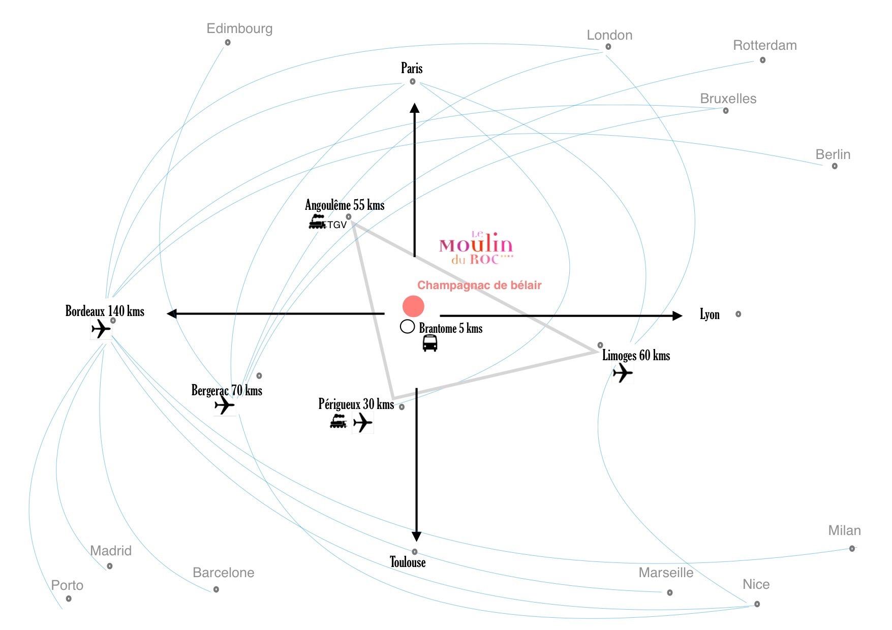 Map to Moulin du Roc