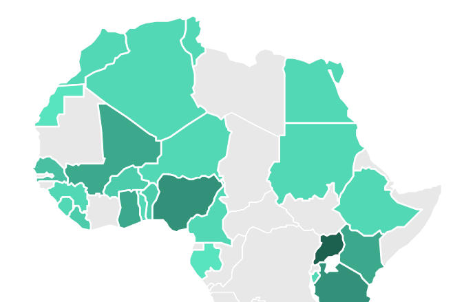 Map displaying the number of locations geocoded per country for 37 countries in Africa (Afrobarometer Rounds 1-6). Source: AidData.