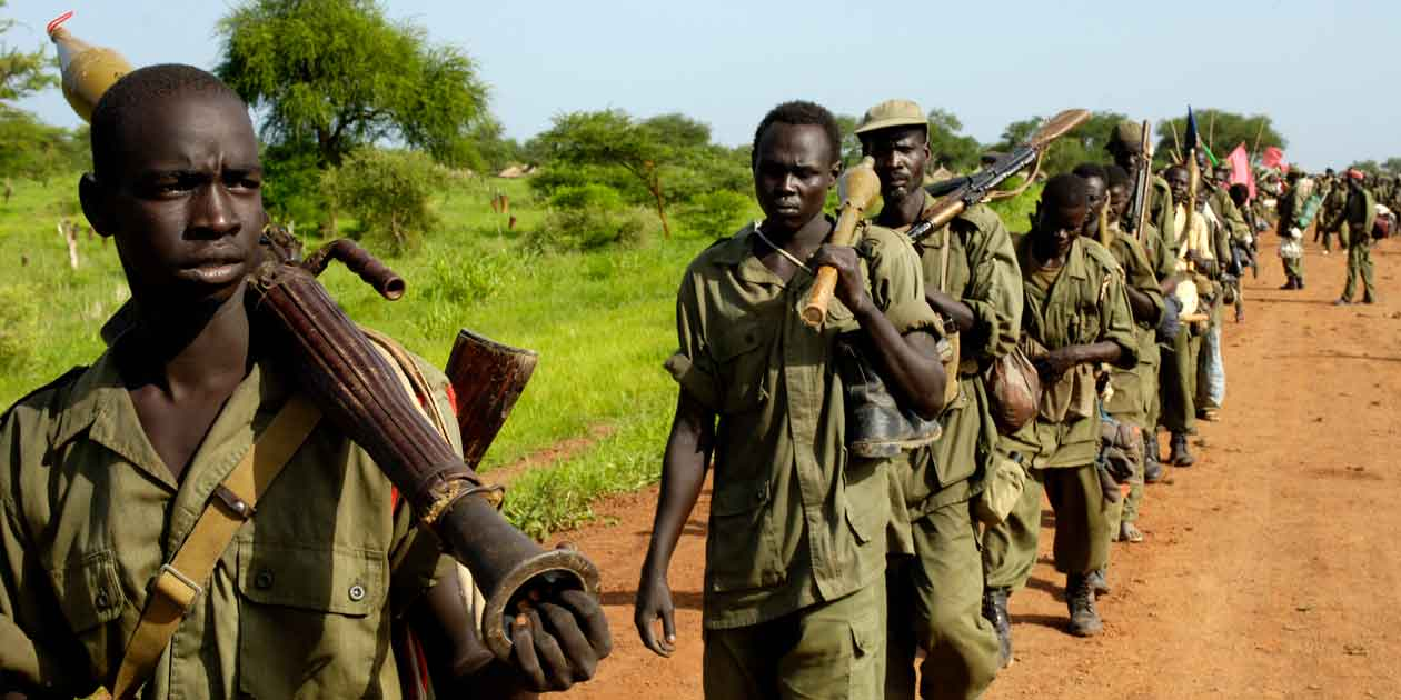 Soldiers of the Sudanese People's Liberation Army being redeployed in 2008 to form a new battalion with the Sudan Armed Forces in Manyang, Sudan.