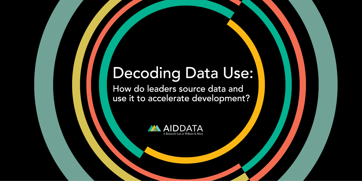 Cover image of new report, Decoding data use: How do leaders source data and use it to accelerate development?