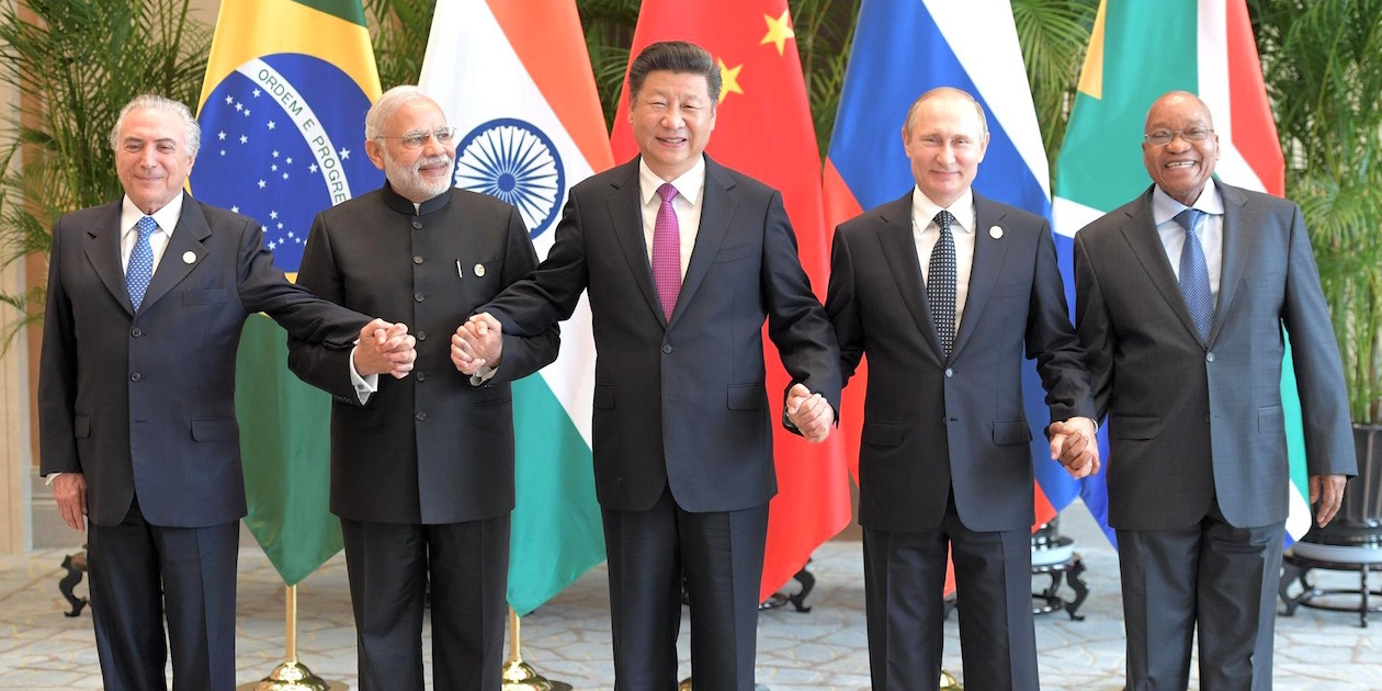 At a 2016 meeting of BRICS leaders, from left: President of Brazil Michel Temer, Prime Minister of India Narendra Modi, President of the People's Republic of China Xi Jinping, President of Russia Vladimir Putin, and President of the Republic of South Africa Jacob Zuma. Photo by RIA Novosti.