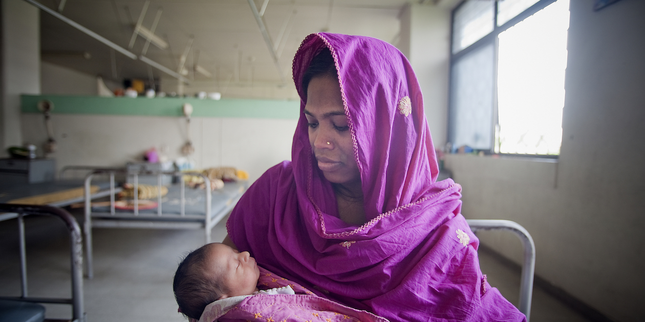 Mother and newborn at the Maternal and Child Health Training Institute for medically needy individuals in Dhaka, Bangladesh.