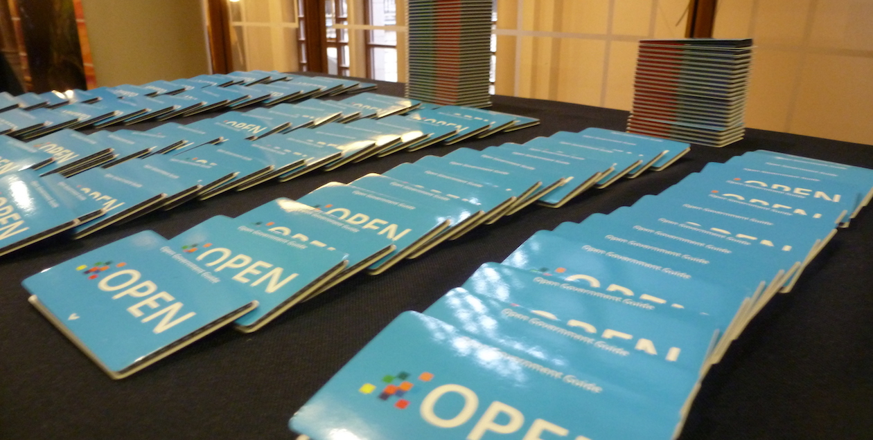 Information cards sit on a table at the Open Government Partnership (OGP) Regional Meeting for Europe 2014. Photo by Open Government Partnership, licensed under (CC BY 2.0).