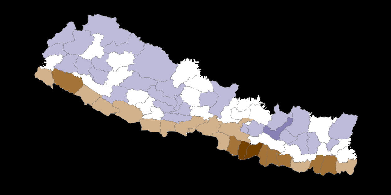 Image adapted from map of Nepal's overfunded and underfunded districts, by literacy rate. Dark brown districts had less funding and lower literacy; dark blue districts had more funding and higher literacy. Map by Doug Nicholson for AidData, all rights reserved.
