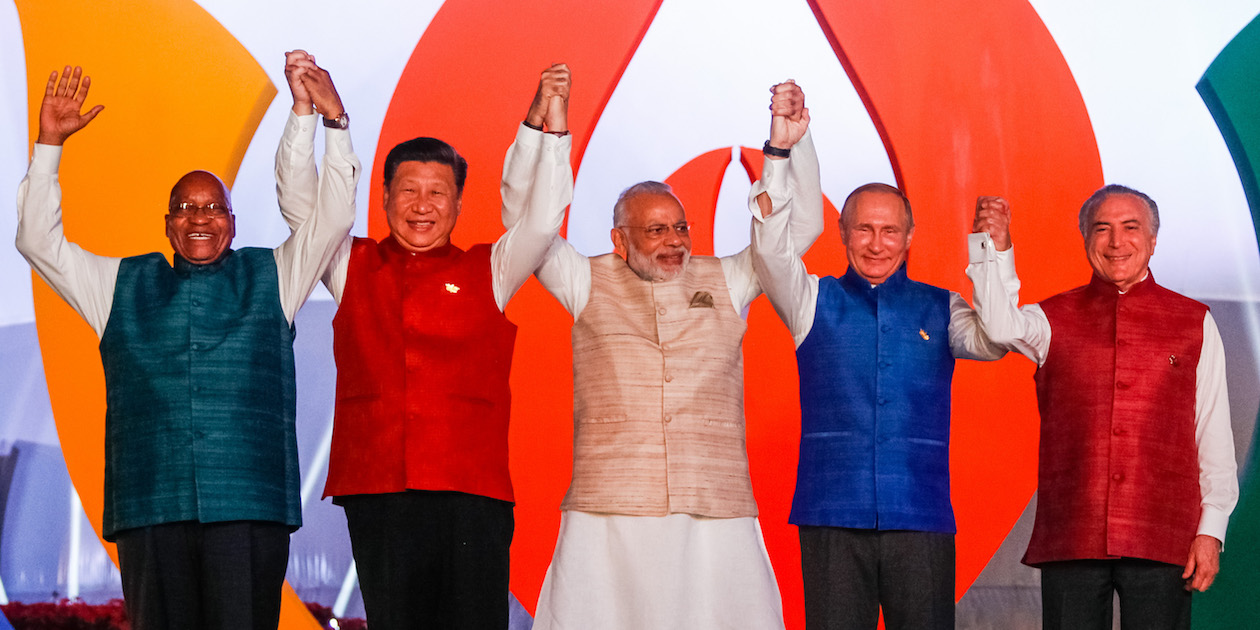 The leaders (l-r) of South Africa, China, India, Russia and Brazil meet in Goa, India for the 2016 Annual BRICS Meeting. Photo by Beto Parata/PR via Flickr, licensed under (CC BY 2.0).