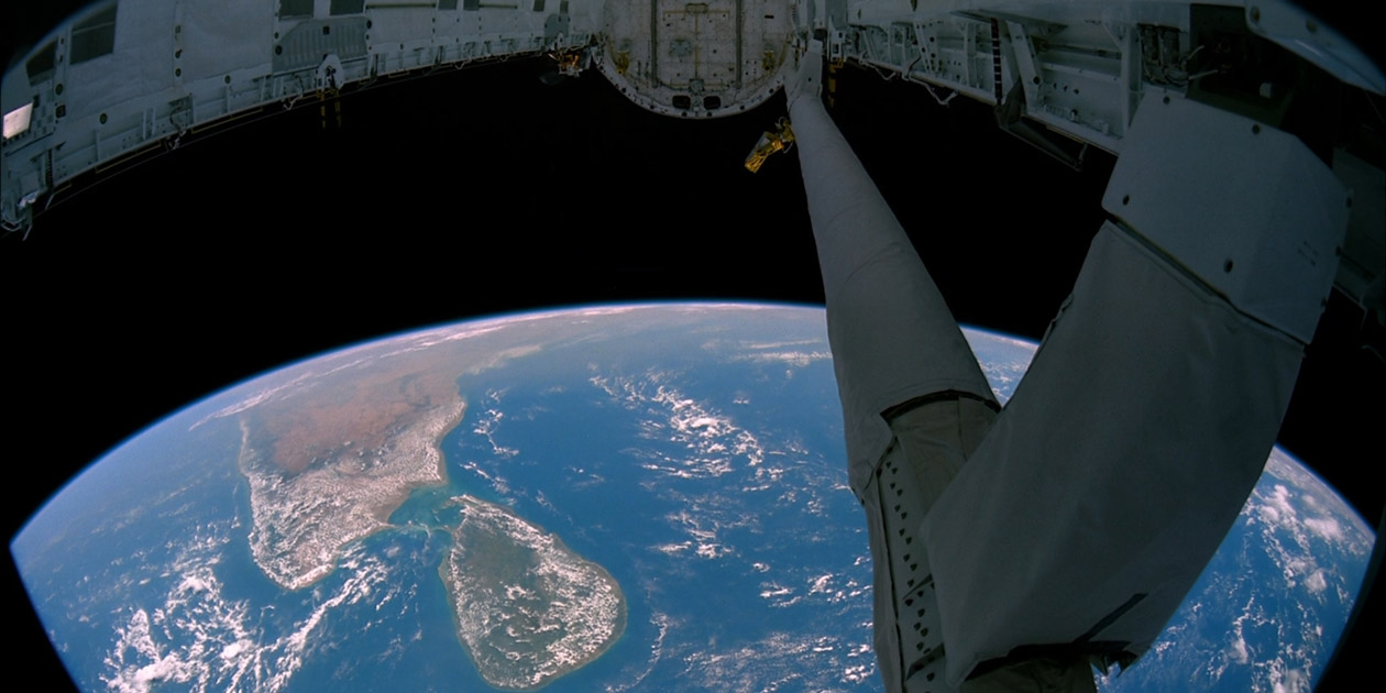 View of South India and Sri Lanka from the payload bay of the Space Shuttle in earth orbit. Photo by NASA via Wikimedia, licensed under (CC BY 2.0).