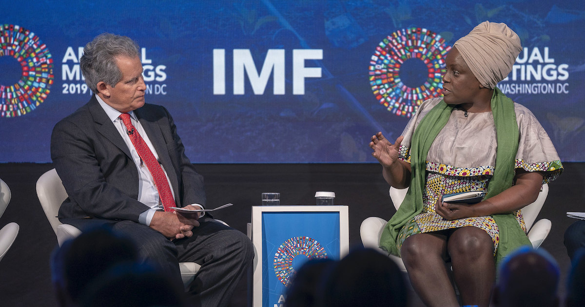 """Leaders speak at a panel on the """"Sustainable Development Goals - Making it Happen"""" at the IMF Headquarters during the 2019 IMF/World Bank Annual Meetings. Photo by the IMF via Flickr, licensed under (CC BY-NC-ND 2.0)."""