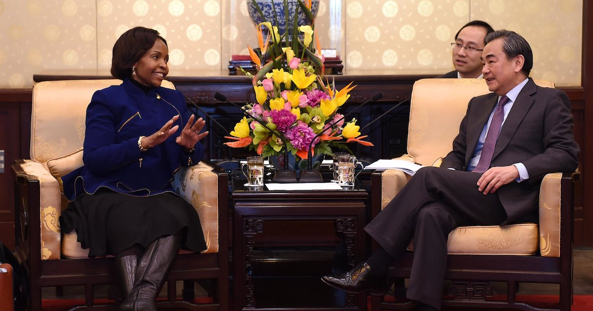 South Africa's Minister of International Relations and Cooperation Maite Nkoana-Mashabane meets with Chinese Foreign Minister Wang Yi at a bilateral meeting on Feb 19th, 2017. Photo by the Government of South Africa via Flickr, licensed under (CC BY-ND 2.0).