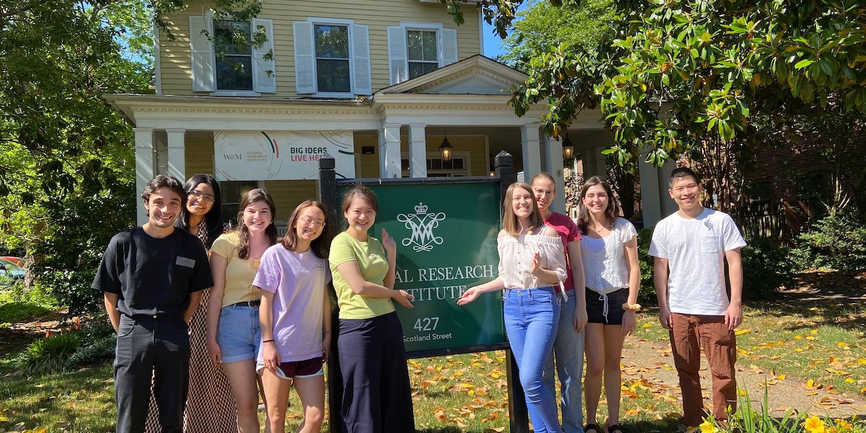TUFF team staff and student research assistants stand in front of the Global Research Institute. From left to right are: Jack Mackey, Tasneem Tamanna Binte Amin, Paige Jacobson, Thai-Binh Elston (Junior Program Manager), Joyce Lin (Program Manager), Kyra Solomon (Junior Program Manager), Katherine Walsh (Program Manager), Mary Trotto, and Sheng Zhang (Junior Program Manager). Photo by Carla Talbert/GRI, all rights reserved.