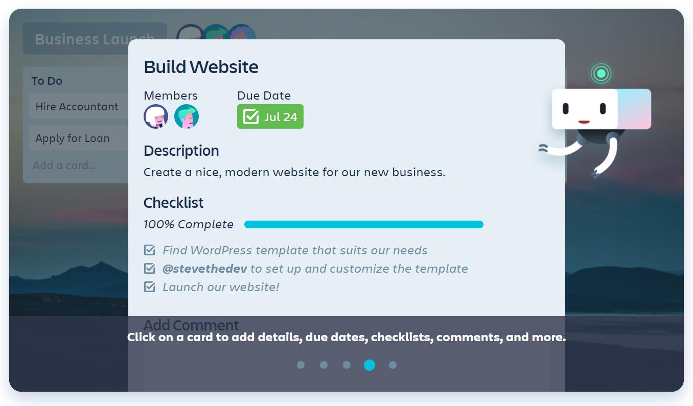 Screenshot of Trello's free task management software
