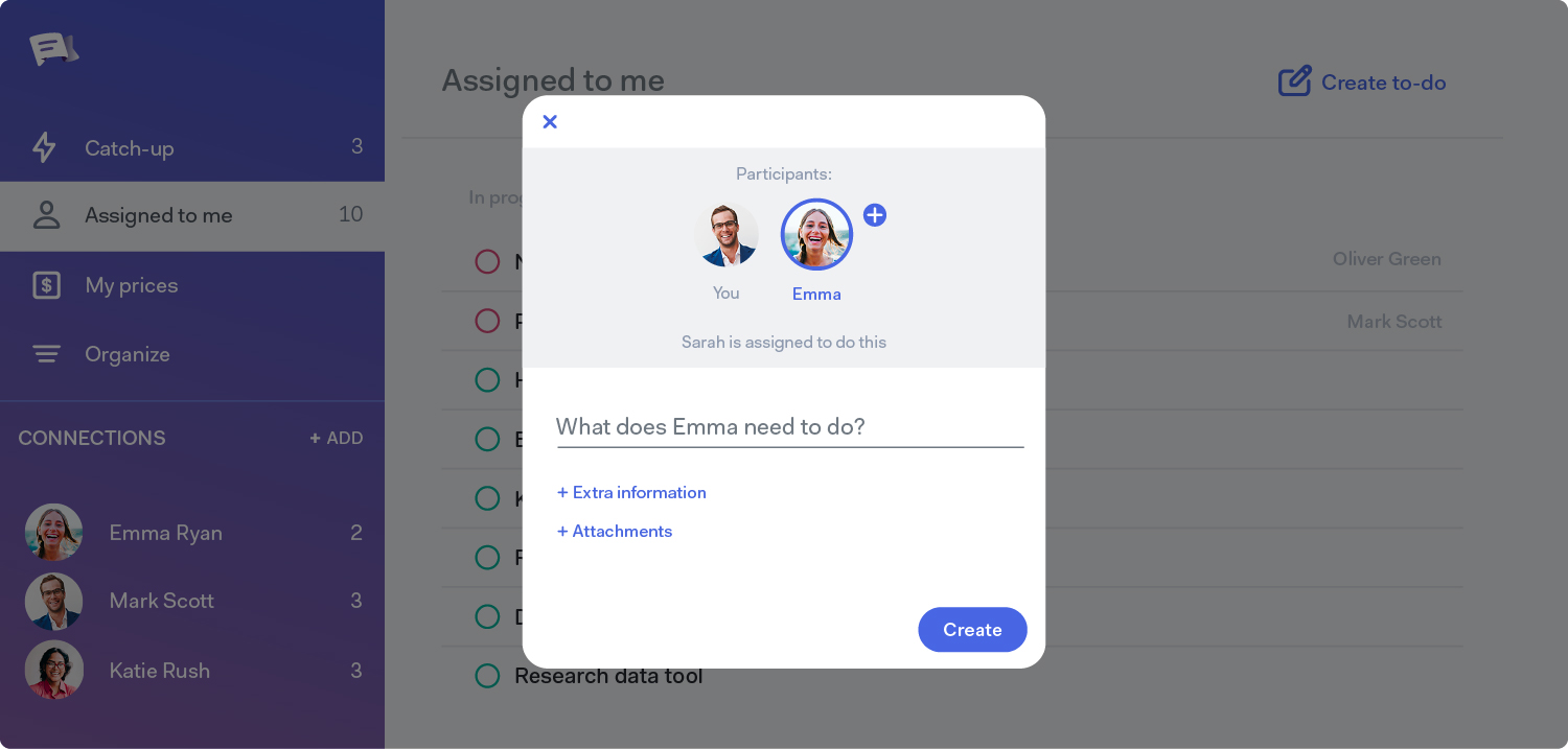 Screenshot of assigning a task in GetBusy task management software