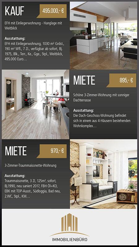 Digital Signage Content in einem Immobilien Büro