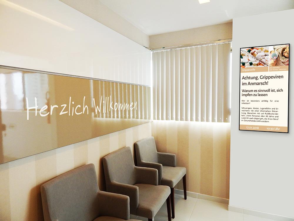 Digital Signage im Wartezimmer einer Arztpraxis