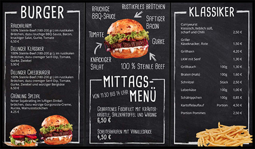 Digital Signage Content für einen Gastronomiebetrieb