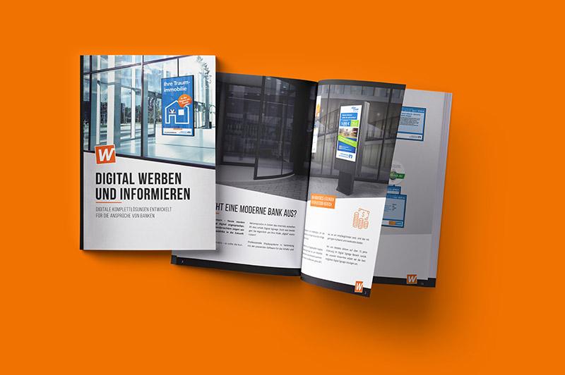 Digital Signage Broschüre für Banken