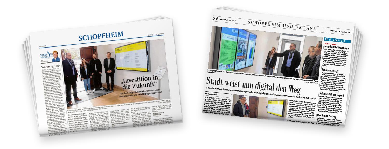 Zeitung der Stadt Schopfheim über digitale Infosysteme